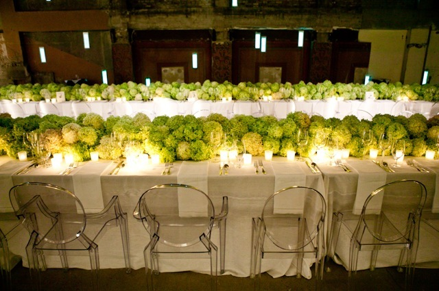 A dramatic table setting with hydrangeas
