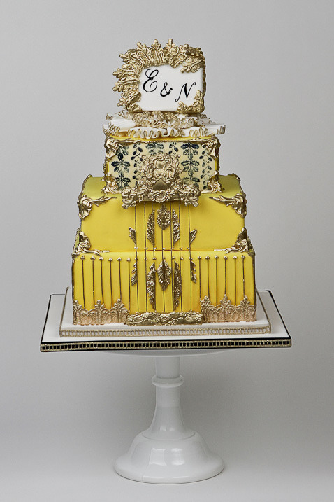 Sculpted Artistic Wedding Cakes With Striking Gold Accents - MODwedding
