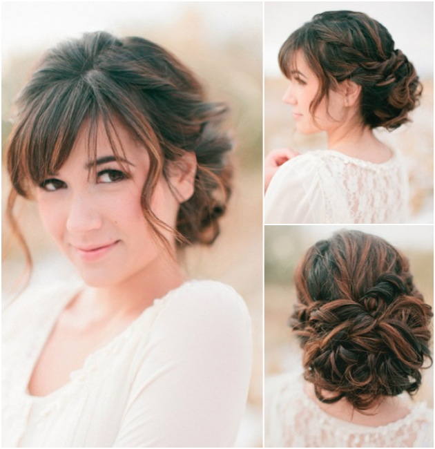Put curled hair into a loose, low bun, leaving wisps of hair around ...