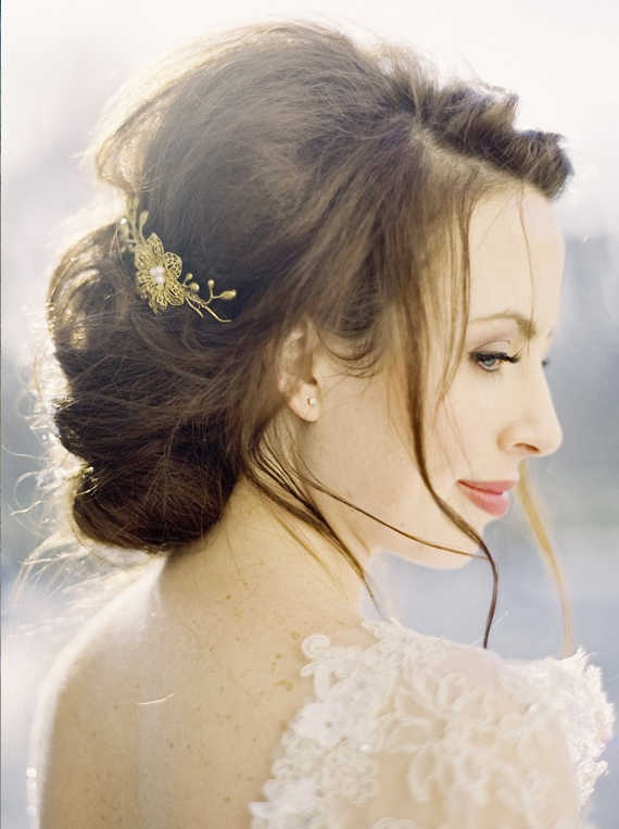 Romanticism Displayed In A Romantic Wedding Hairstyle Bride Sparkle - Hairstyle with wedding gown