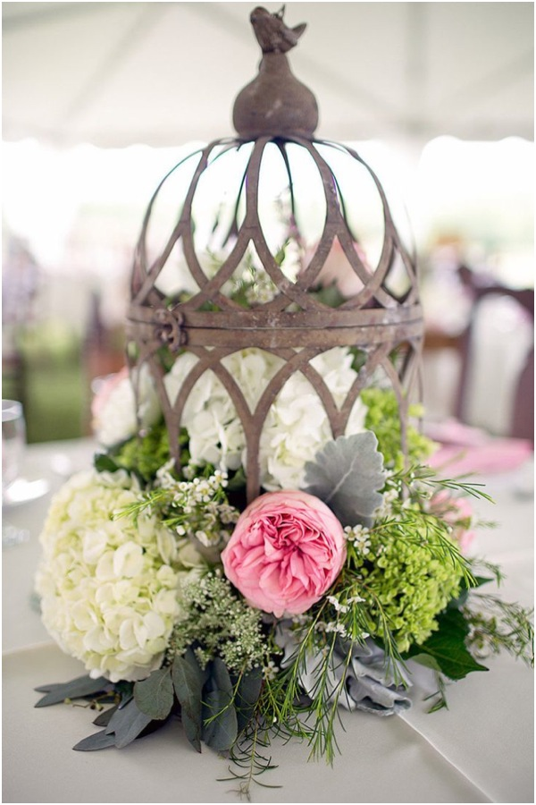 Wedding centerpieces and table settings in rustic style