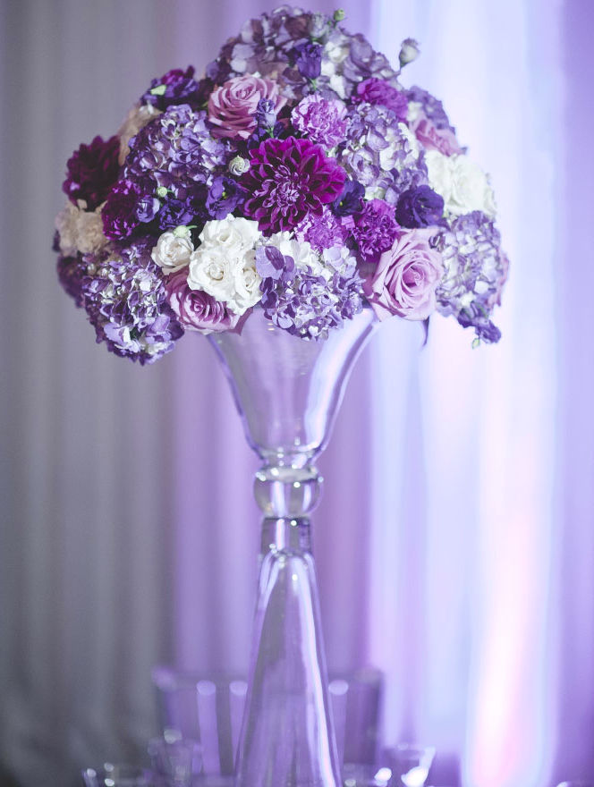 Wedding centerpieces ideas purple gallery wedding dress for Wedding dress vase centerpiece