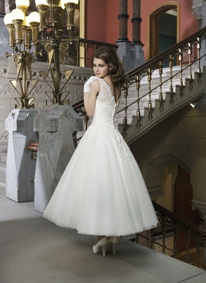 Justin Alexander Tea Length Wedding Dress
