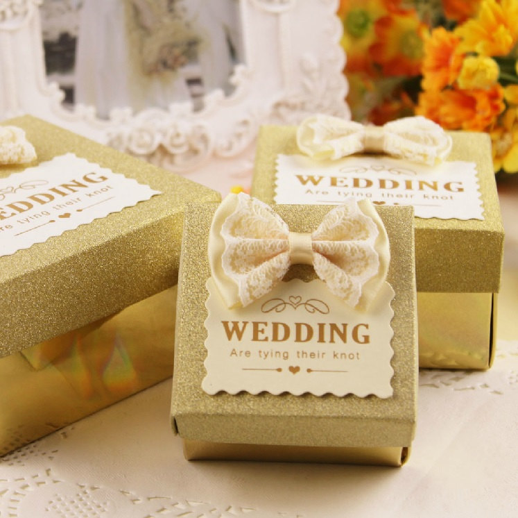Wedding Gift Ideas For Guests Nz : Yellow Wedding Candy Box with RoyalBlue satin Ribbon Bow from ...