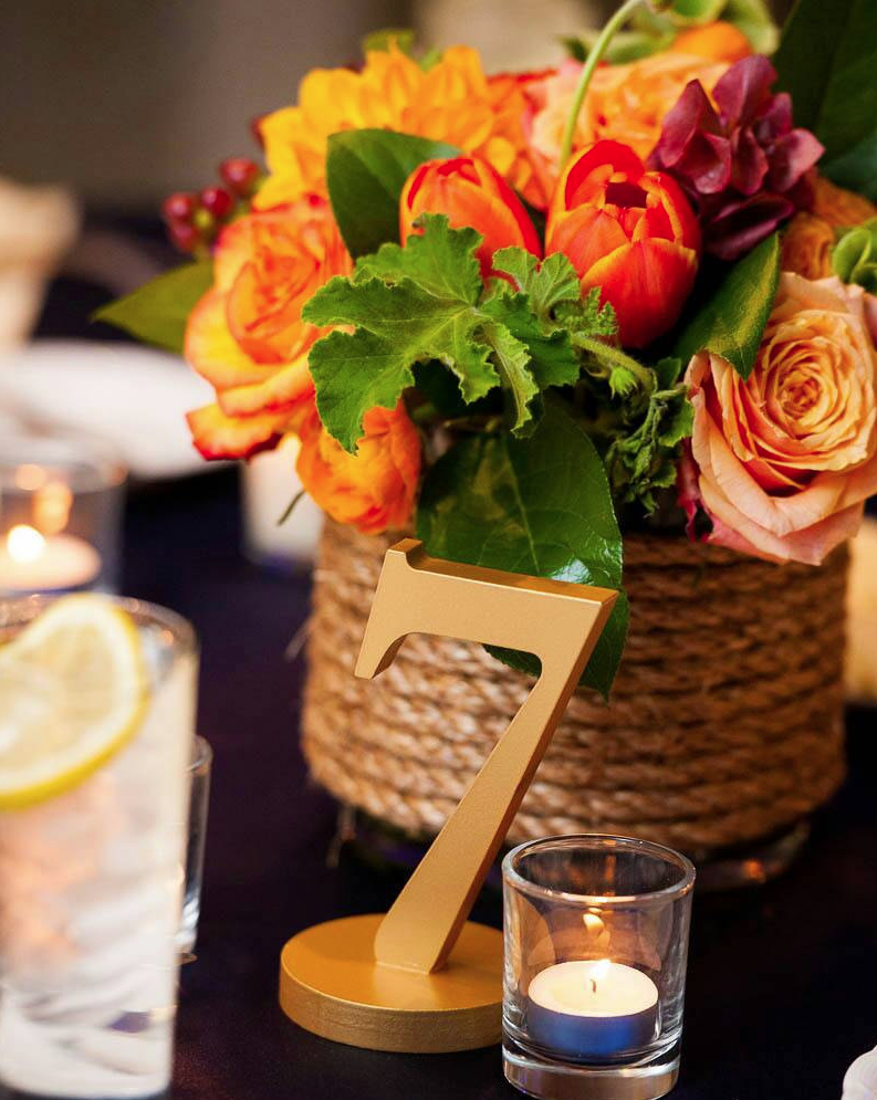Gorgeous wedding table number ideas modwedding for Number 3 decorations