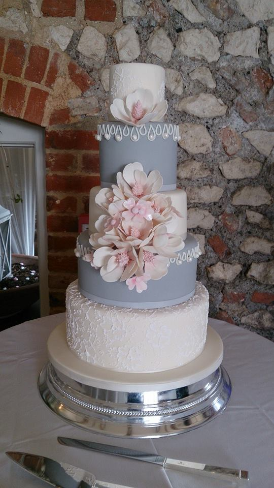 grey white and pink wedding cake daily wedding cake inspiration new modwedding 14986