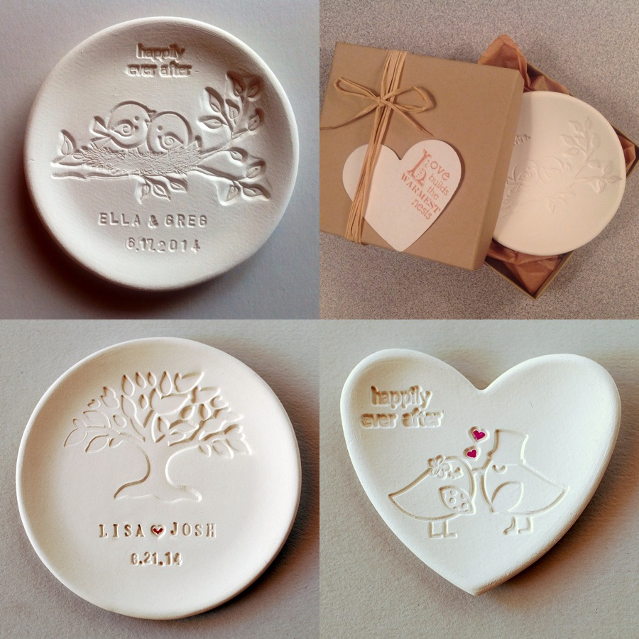 Wedding Gift Ideas For Guests Nz : Personalize wedding ring dishes from DowntheRoadwithMe