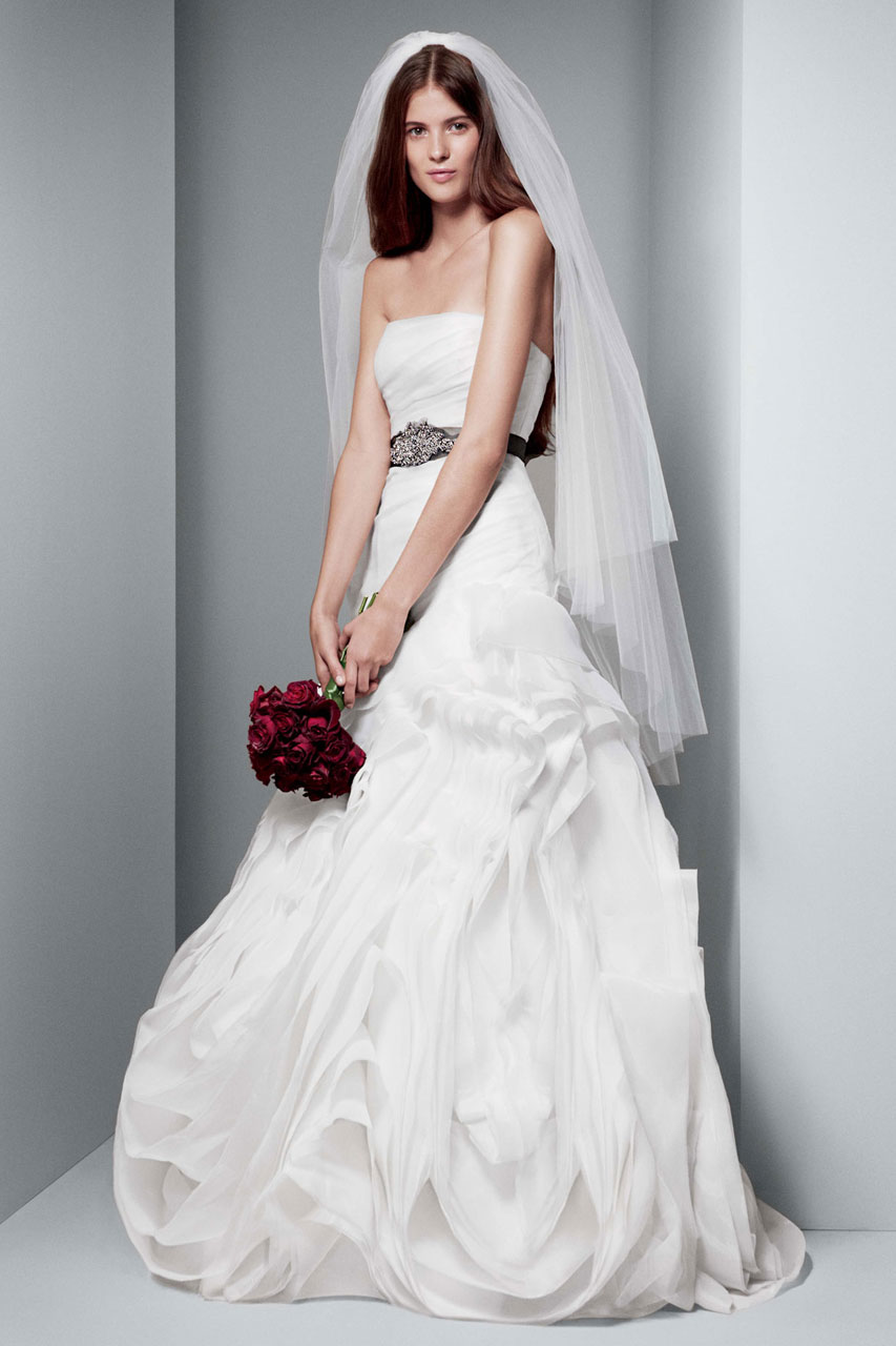 White by vera wang wedding dresses modwedding for Wedding dresses bridesmaid