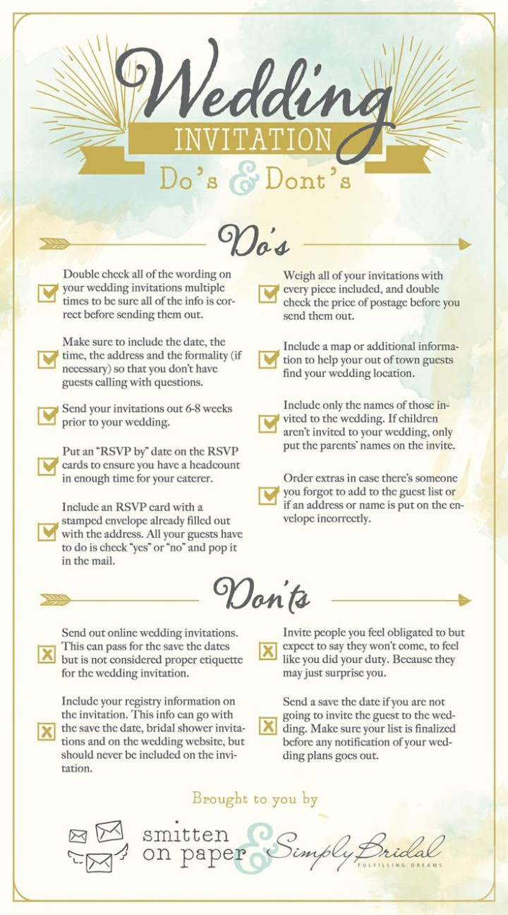 6 super helpful wedding invitation checklists modwedding for Things to put on wedding registry