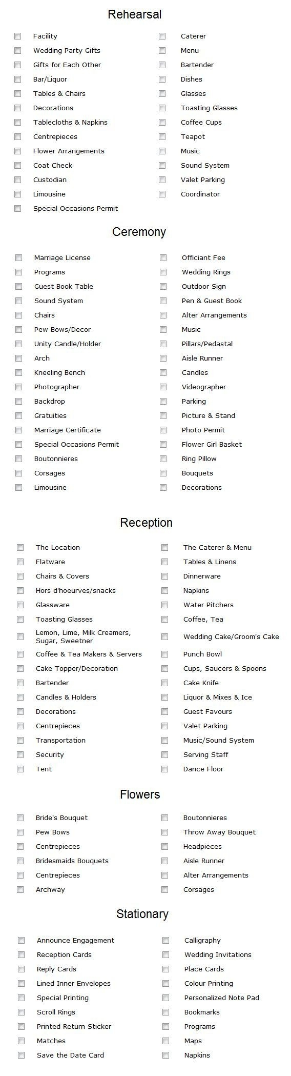 Here Is A Checklist Of Everything You Need For Your Wedding Planning