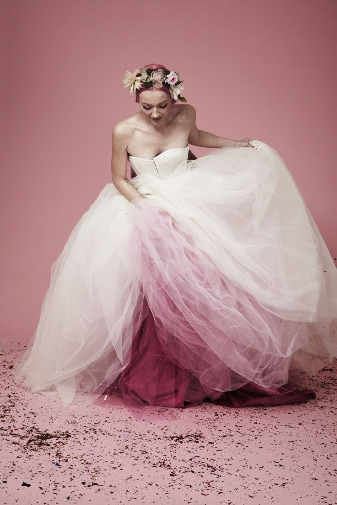 Pink and white wedding dresses pictures