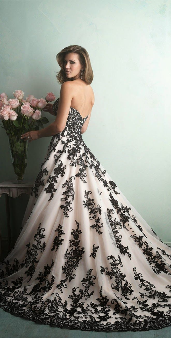 Images of black and white wedding dresses