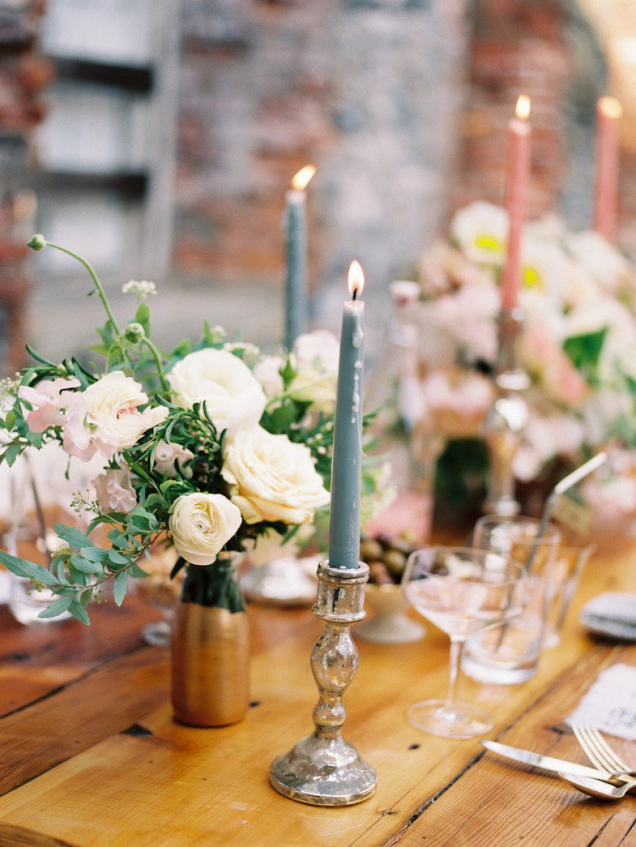 wedding table decor with candles styled new york wedding inspiration at salvato mill from 1170