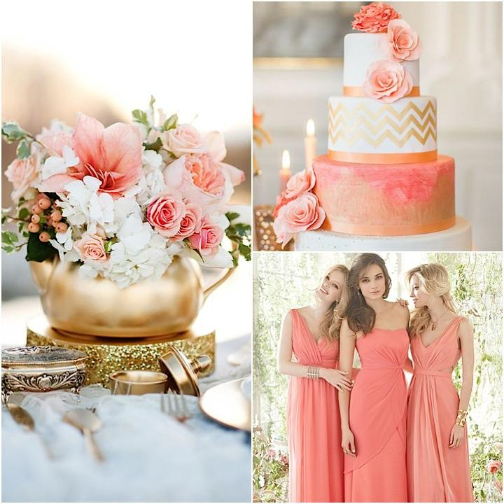 Gold Wedding Decorations: Color Inspiration: Perfect Coral And Gold Wedding Ideas