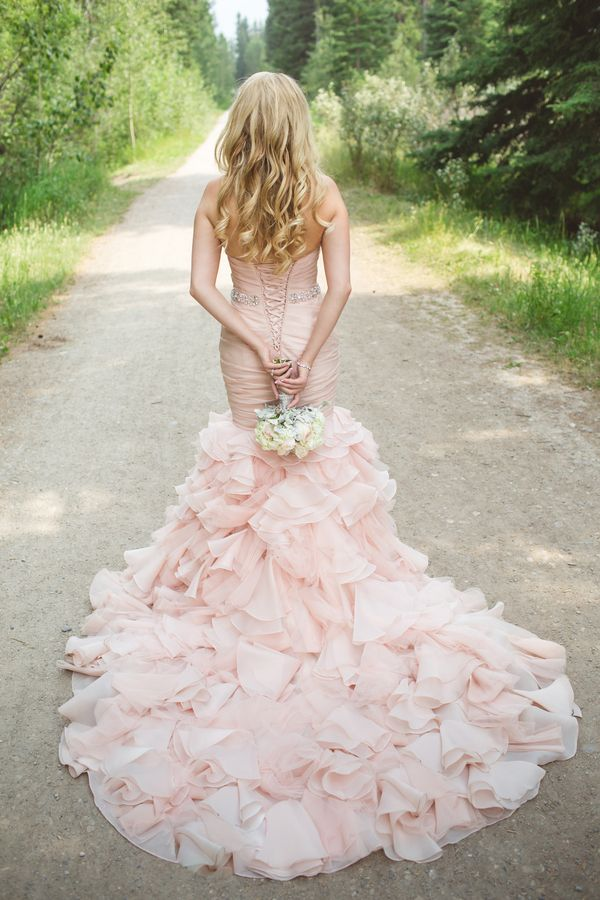 Colored wedding dresses pink