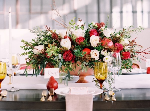 Red Romance in Autumn Canada Wedding