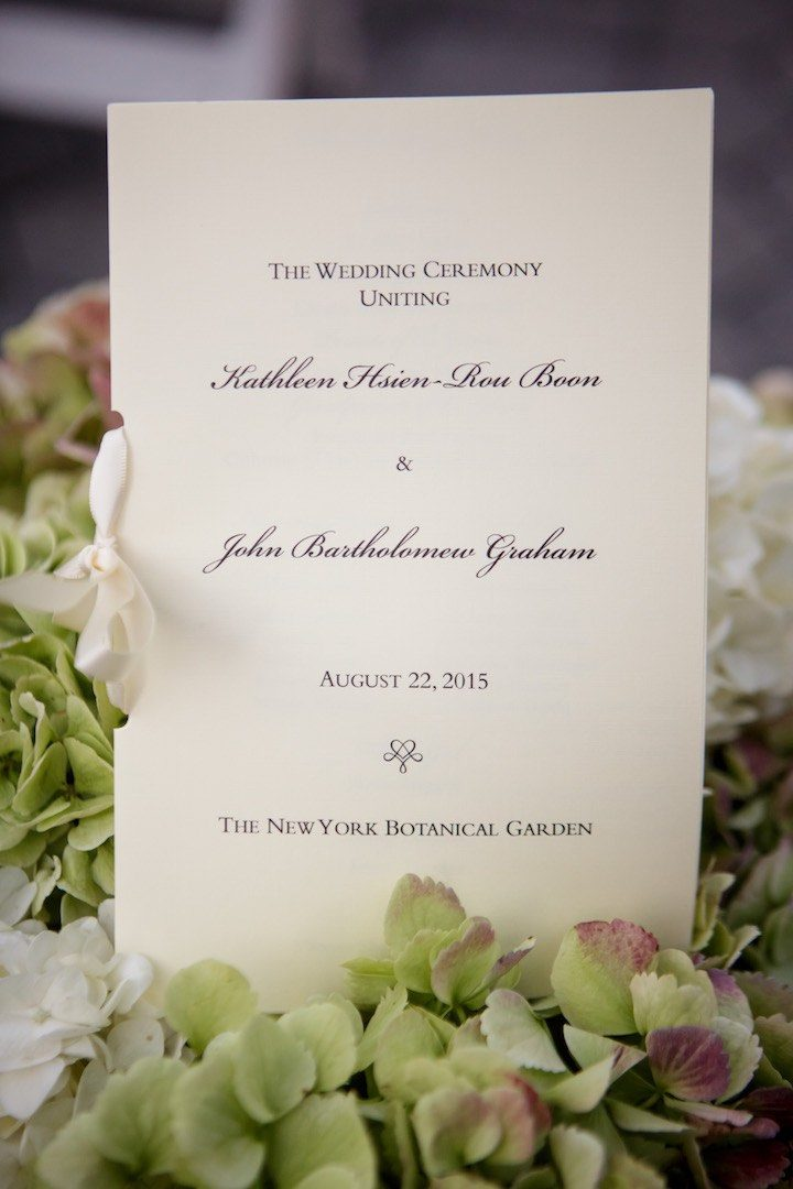 Kathleen and John Wedding Date: August 22, 2015 Coordinator – Laura Remmert Events Photographer – Catherine Hall, Catherine Hall Studios Ceremony Venue The New York Botanical Garden Reception Venue The New York Botanical Garden Dress Designer – Vera Wang Groom's Wardrobe Designer - Ralph Lauren Shoe Designer for Bride – Christian Louboutin Shoe Designer for Groom- Salvatore Ferragamo Bridesmaids Dresses - Jim Hjelm Groom's Accessories -Hermes Hair and Makeup: Sachiko Yanase Invitations - Wiliam Arthur 4Officiant Father Noel Clarke Florist Bowman Dahl Floral and Event Design Caterer Stephen Starr Events Cake Designer Lulu Cake Boutique Ceremony Music Venus Ensembles Reception Music Charles St. Paul Band (Star Talent Inc.) M&V Limo (for vintage car)