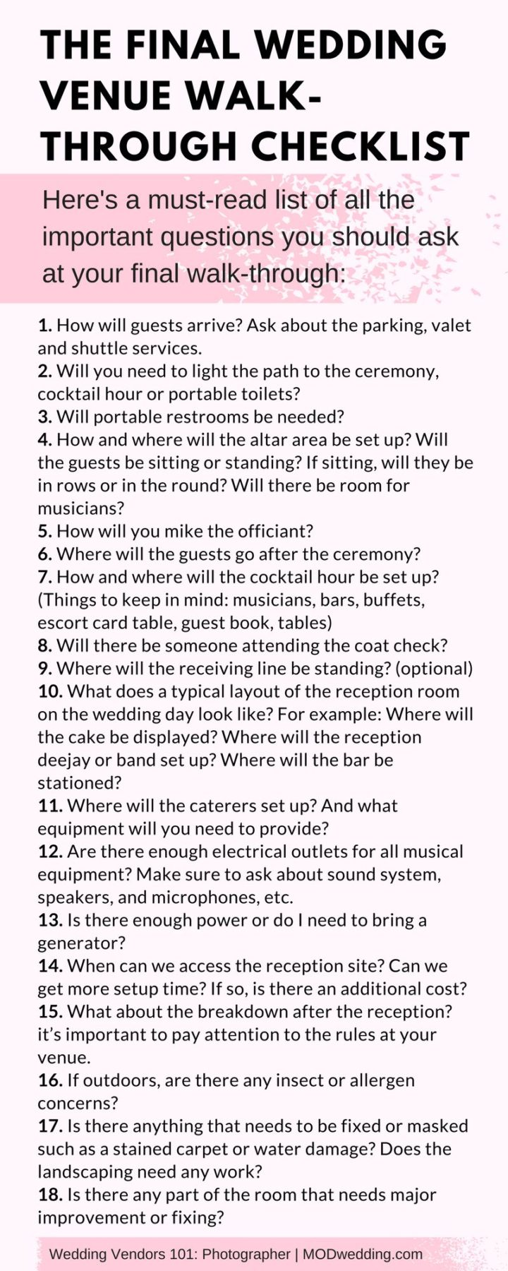 Wedding Venue Walk Through Checklist 7