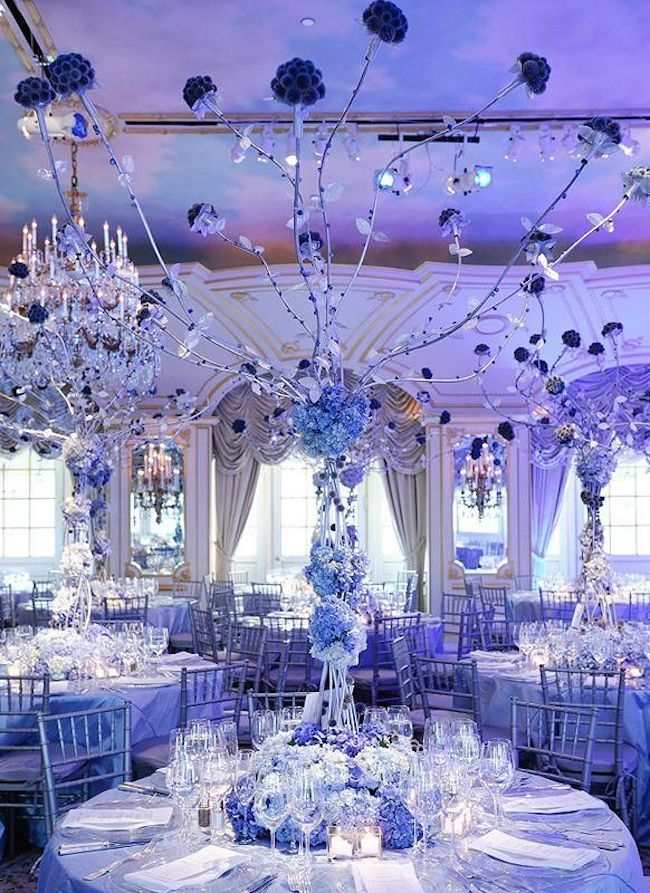 Shades Of Blue Wedding Centerpiece Ideas MODwedding