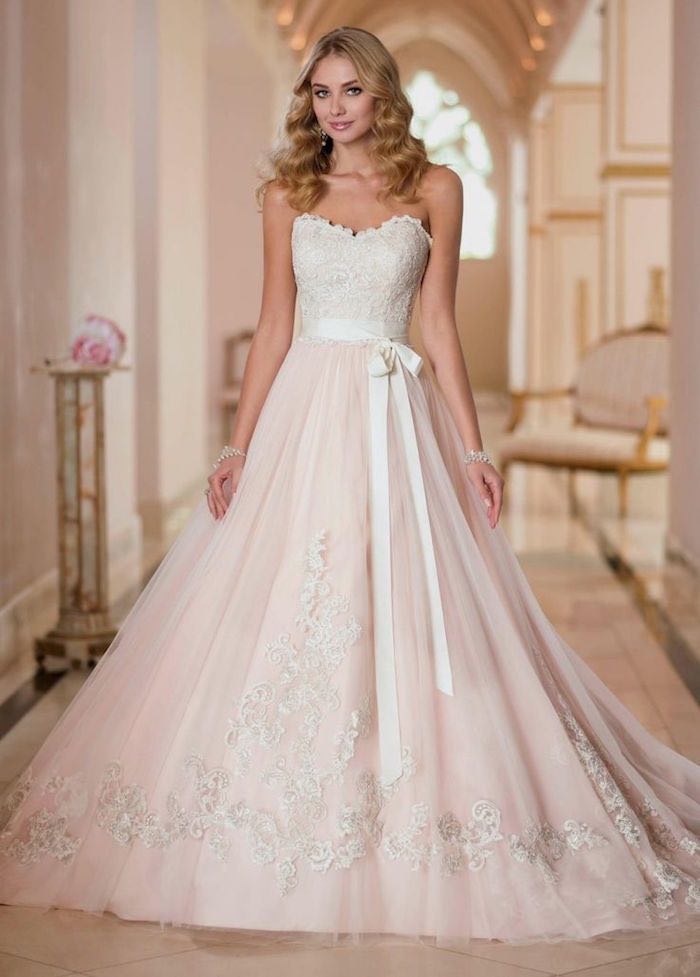 Blush Wedding Dresses With Classic Details - MODwedding