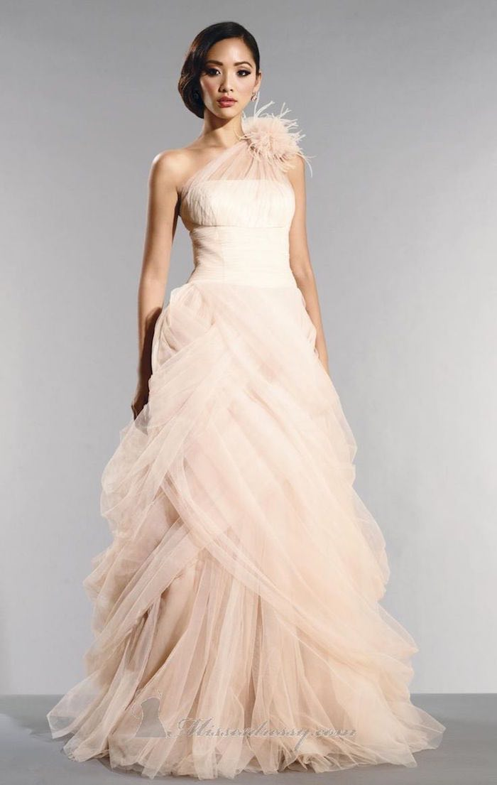 Blush wedding dresses with classic details modwedding for Wedding dresses in color