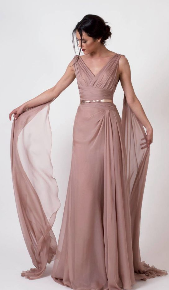 Unique Rose Colored Gold Belted Bridesmaid Dress - MODwedding