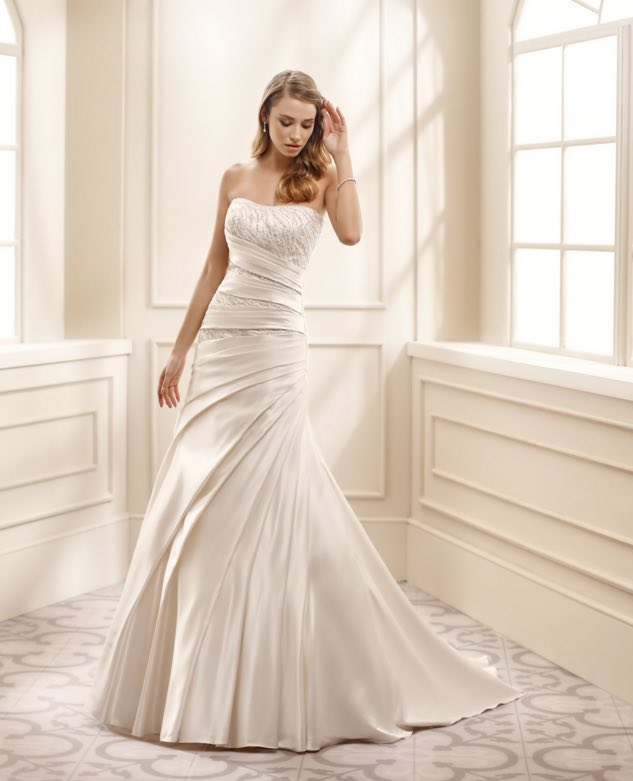 Simple And Elegant White Satin Sweetheart With Jacket: Eddy K Wedding Dresses 2016 Collection Part II