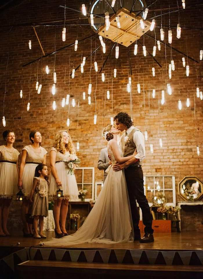 weddings with romantic edison bulb decor modweddng