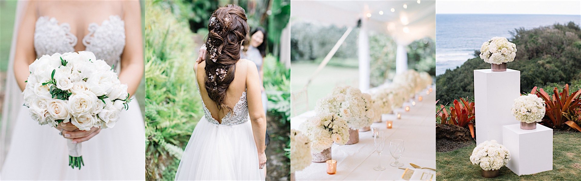Whimsical and pristine hawaii wedding modwedding whimsical and pristine white hawaii wedding junglespirit Images