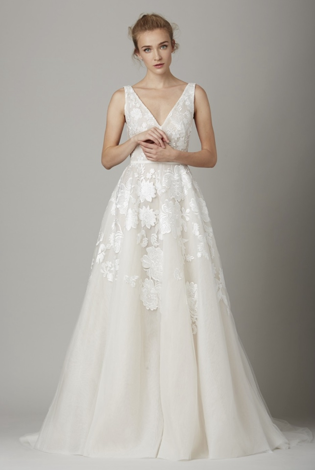 Lela rose wedding dress different for Wedding dresses with roses on them