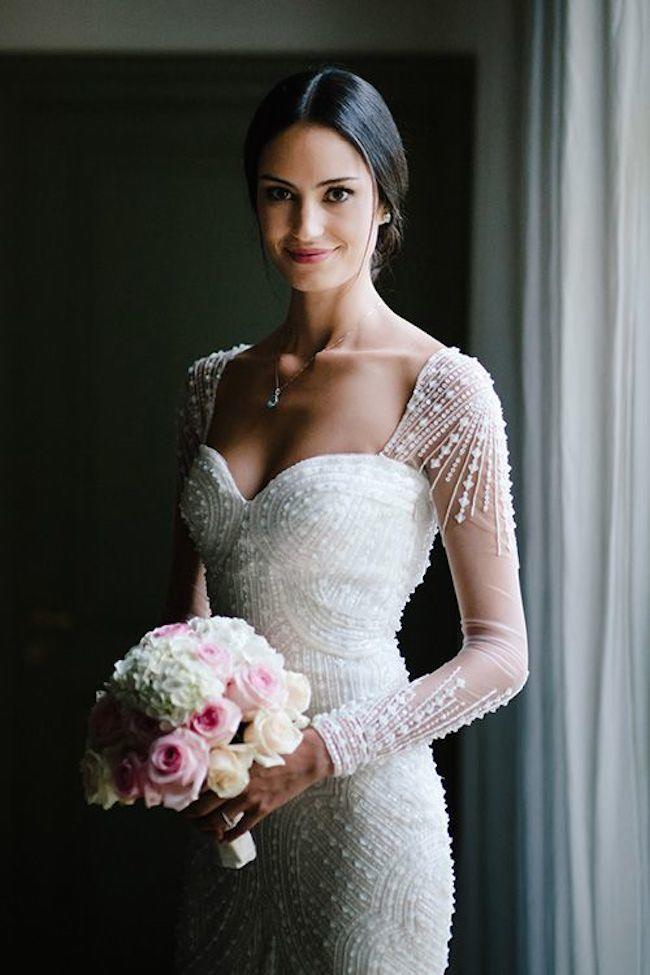 Stunning long sleeve wedding dresses modwedding for Beading for wedding dress