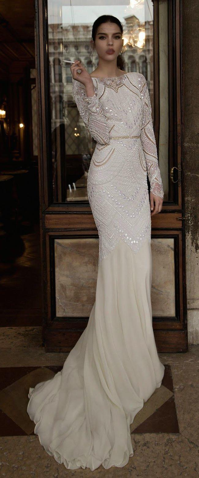 Stunning long sleeve wedding dresses modwedding for Long straight wedding dresses