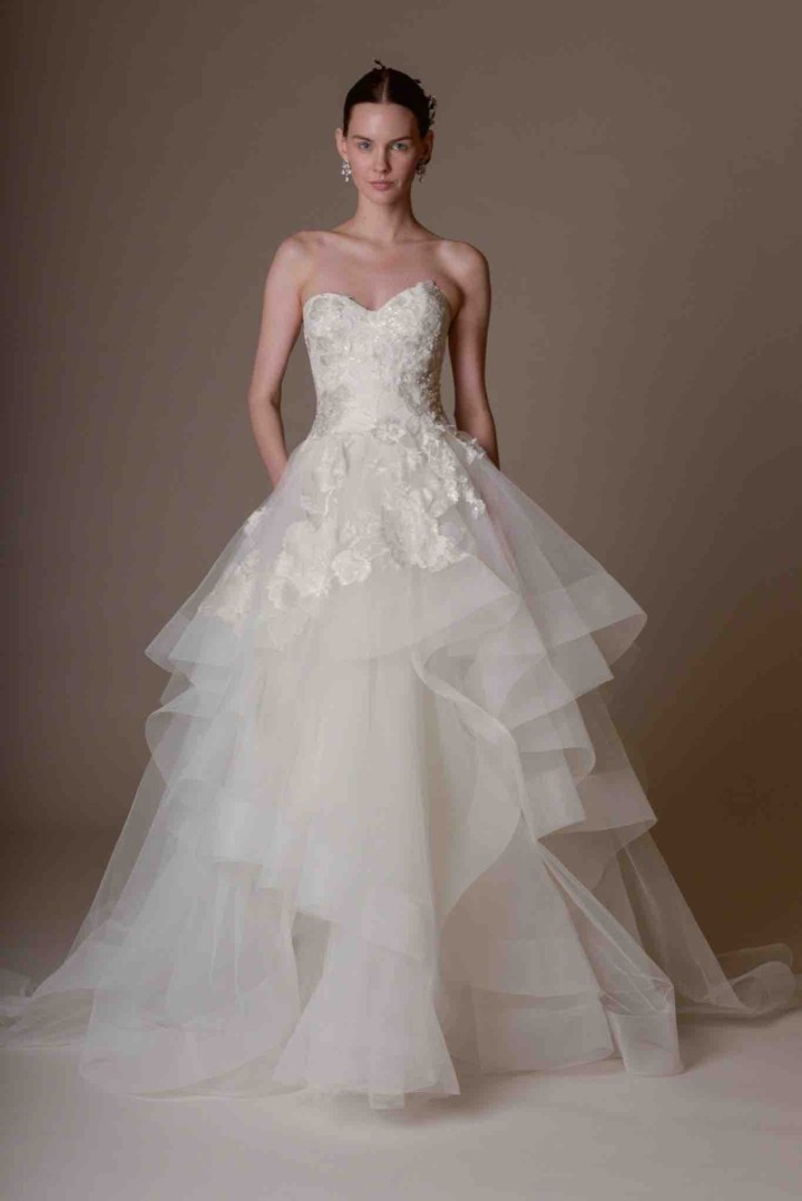 Marchesa wedding dresses spring 2016 modwedding for Floral dresses for weddings