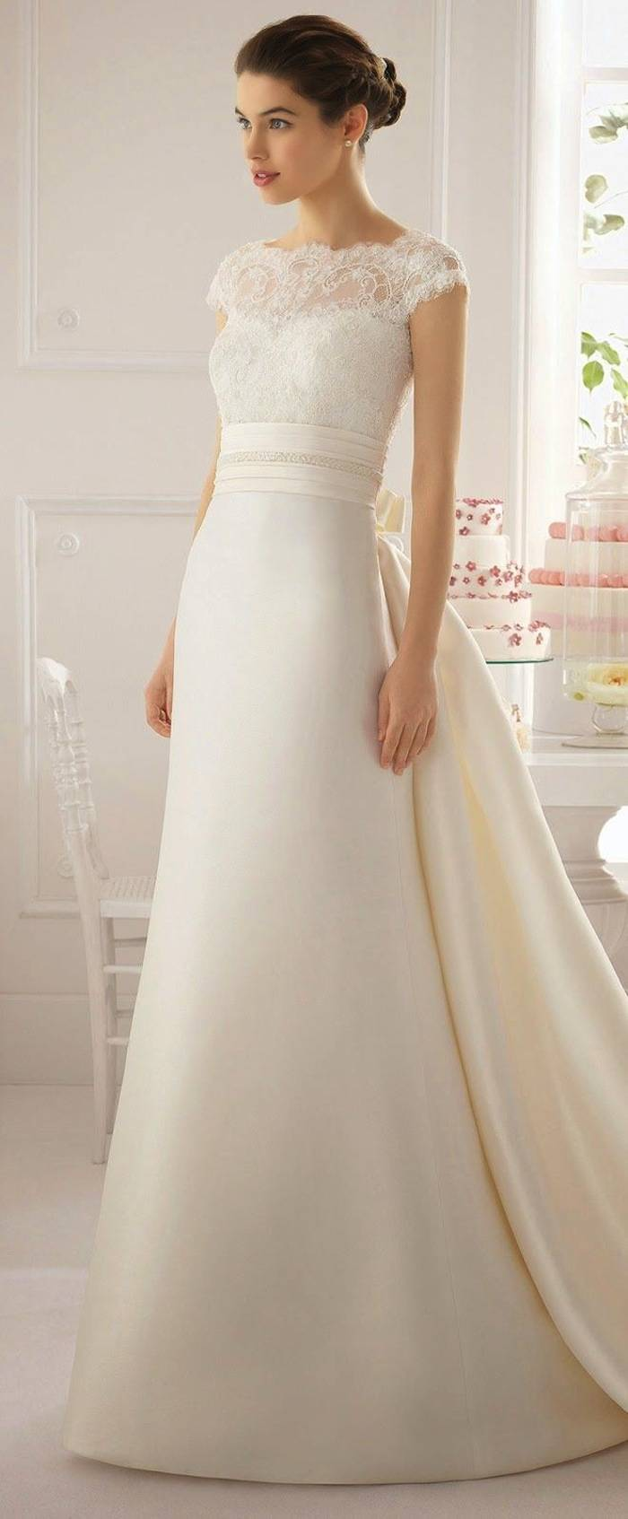 Modest wedding dresses with pretty details modwedding for No lace wedding dress