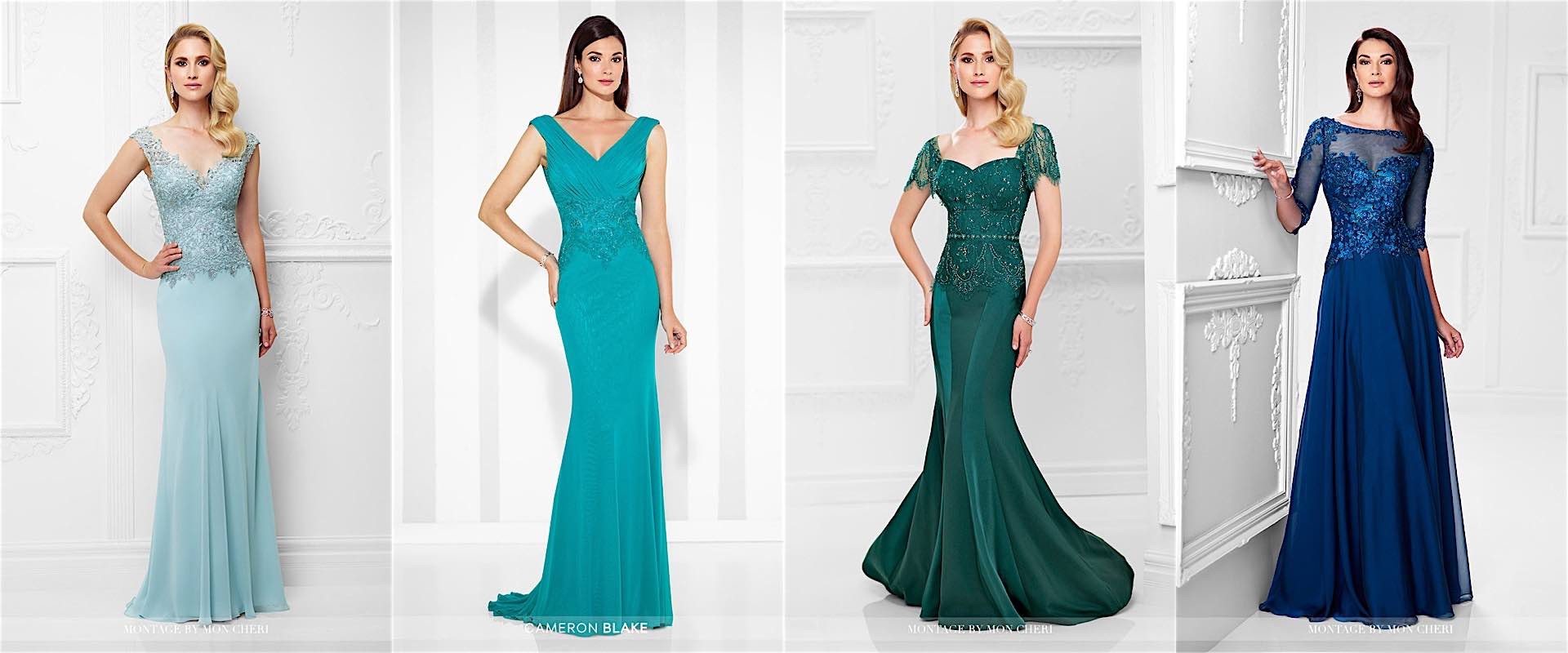 Montage by Mon Cheri - Blue and Green Dresses for Mother of the Bride