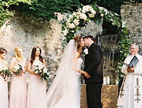 A Waterfall Backdrop Graces This Pennsylvania Wedding