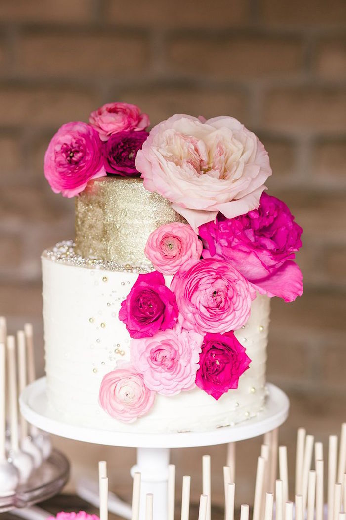 hot pink and gold wedding cake pink wedding ideas with elegance modwedding 15331