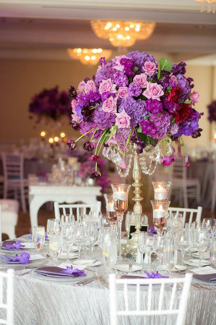 wedding table flower centerpieces purple wedding ideas with pretty details modwedding 1190