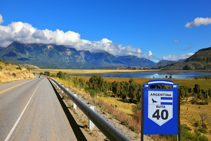 Patagonia, southern Argentina. The famous Route 40 paved road parallel to the Andes.