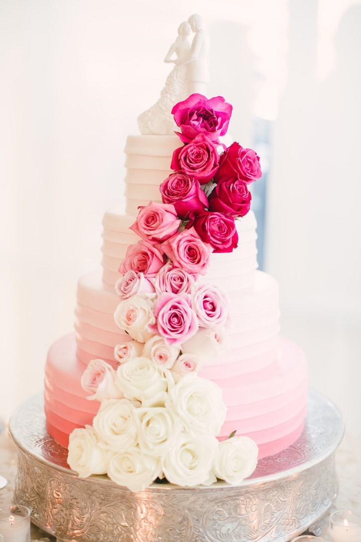 pink rose garden wedding cake magenta colored santa barbara wedding modwedding 18583