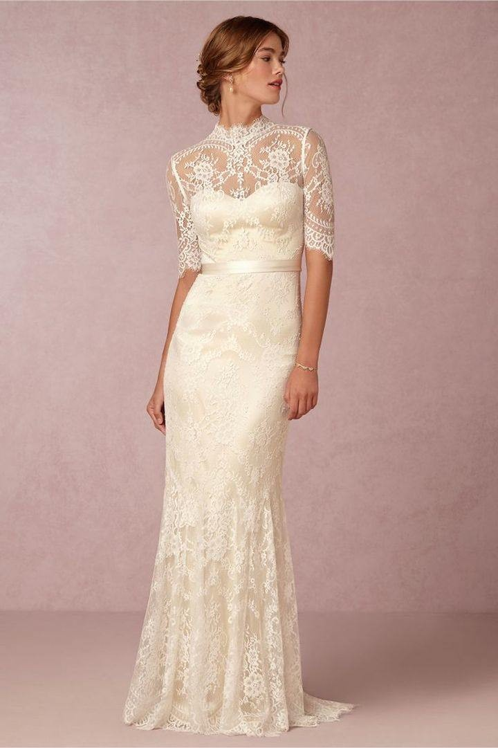 Vintage lace wedding dresses from bhldn modwedding for Cream colored lace wedding dresses