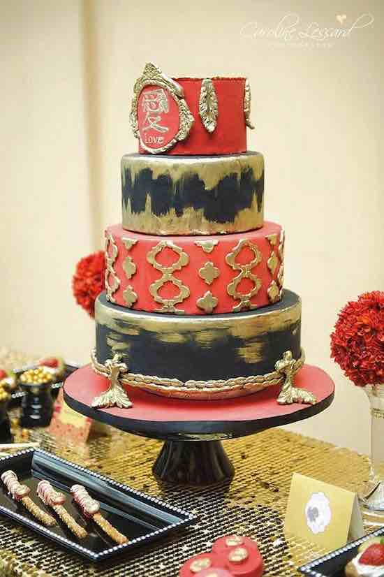 Striking Red And Gold Wedding Cake Idea