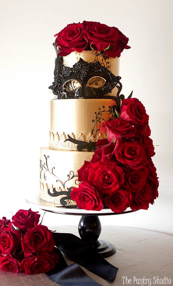 Three Tier Pink And Gold Wedding Cake Modwedding