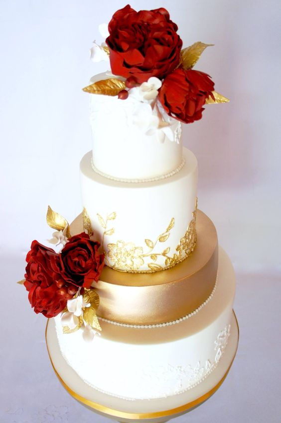 red and gold wedding cake flower topped gold and white wedding cake 19076