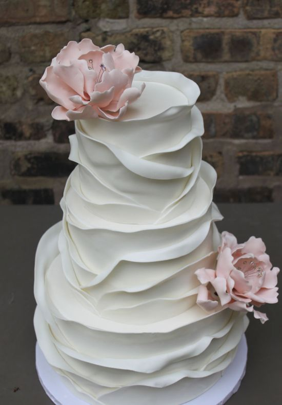 Layer textured pink flower white wedding cake modwedding more on cakes desserts mightylinksfo Image collections