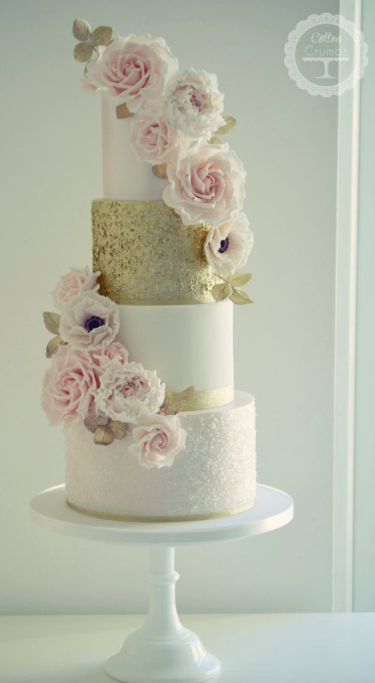 Four tier pink flower white and gold wedding cake modwedding more mightylinksfo