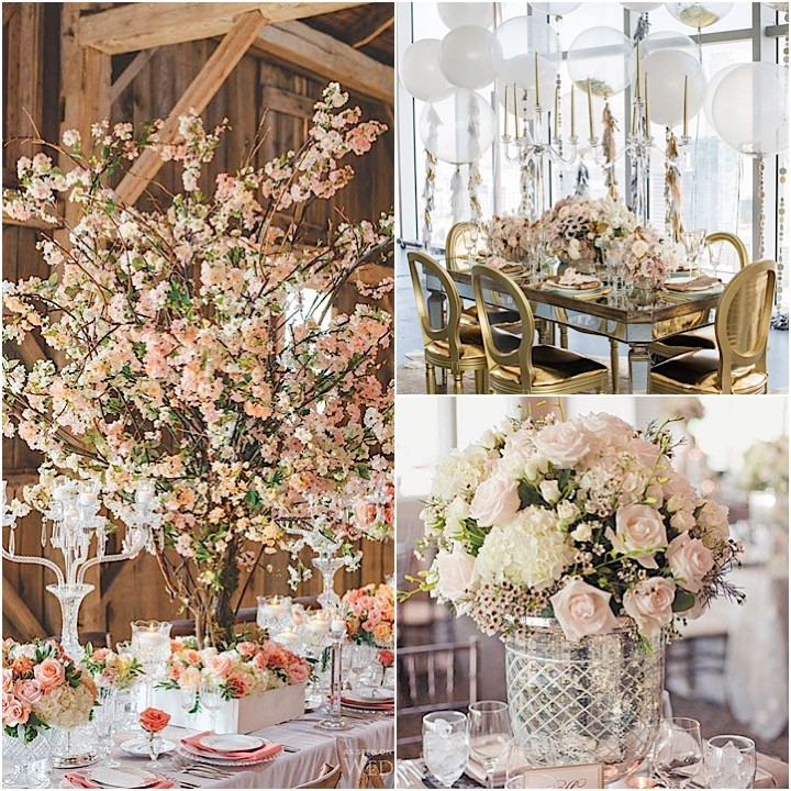 Romantic Wedding Centerpieces With Glamour