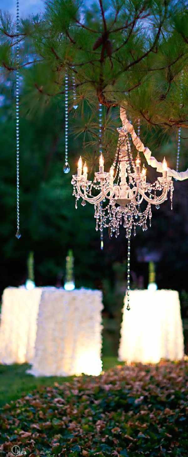 Wedding chandeliers add glamour to decor modwedding for Tree decorations for garden