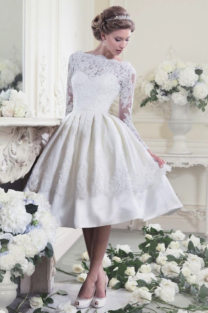 Tea Length Wedding Dresses For Classic Style MODwedding - Mid Length Wedding Dresses