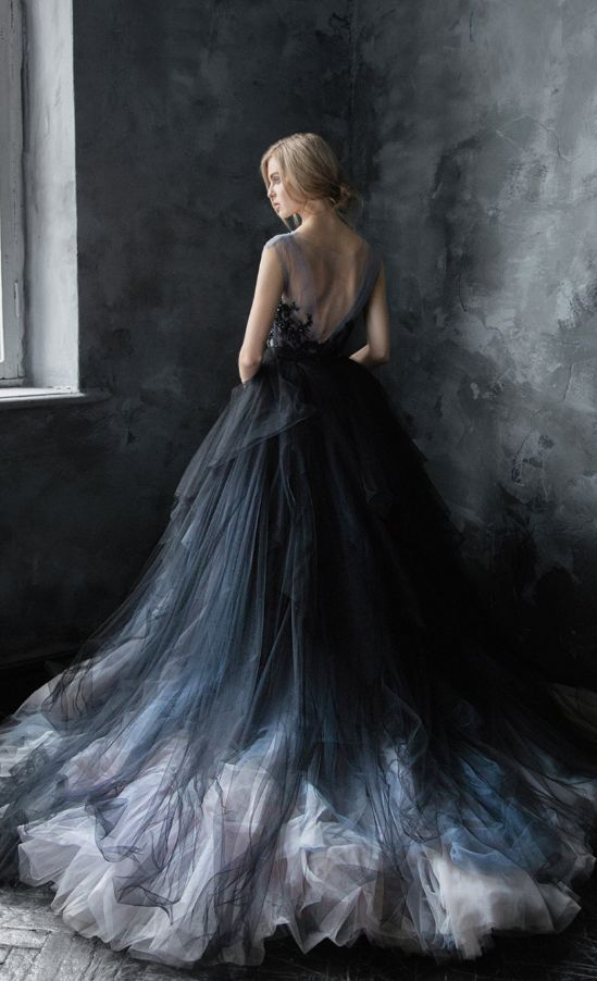 Unique Black Blue And Silver Grey Tulle Ballgown Wedding Dress